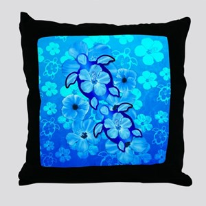 Blue Hibiscus Flowers And Sea Turtles Throw Pillow