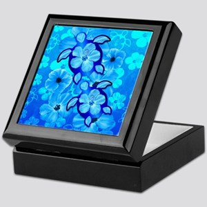Blue Hibiscus Flowers And Sea Turtles Keepsake Box