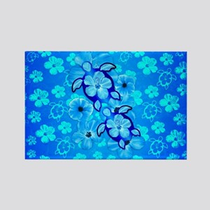 Blue Hibiscus Flowers And Sea Turtles Magnets