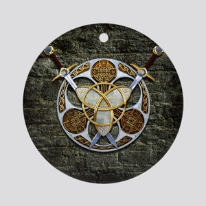 Celtic Shield and Swords Round Ornament