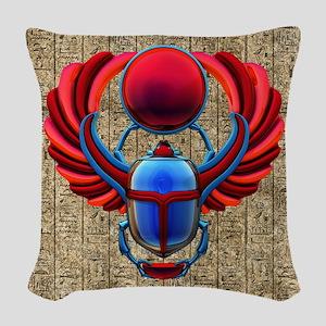 Colorful Egyptian Scarab Woven Throw Pillow