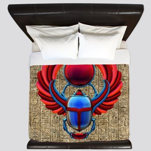 Colorful Egyptian Scarab King Duvet