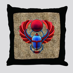 Colorful Egyptian Scarab Throw Pillow