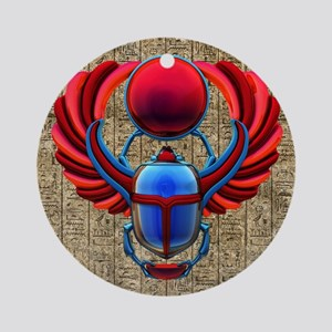 Colorful Egyptian Scarab Round Ornament