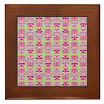 Pink Butterfly Pattern Framed Tile