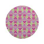 Pink Butterfly Pattern Button