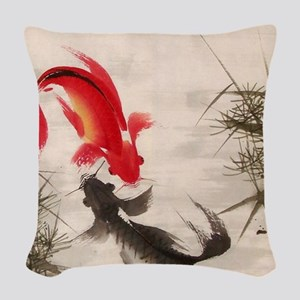 Koi fish Woven Throw Pillow