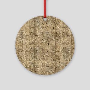 Egyptian Hieroglyphics Round Ornament