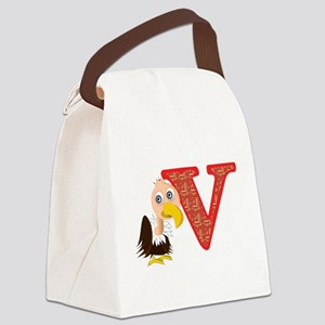V is for vulture Canvas Lunch Bag