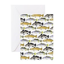 Seatrout and Drum Pattern Greeting Cards