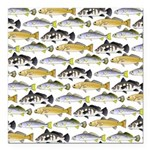 Seatrout and Drum Pattern Square Car Magnet 3
