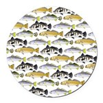 Seatrout and Drum Pattern Round Car Magnet