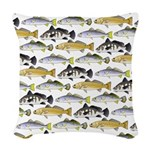Seatrout and Drum Pattern Woven Throw Pillow