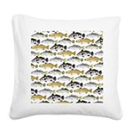 Seatrout and Drum Pattern Square Canvas Pillow
