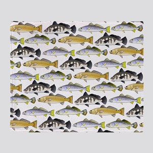 Seatrout and Drum Pattern Throw Blanket