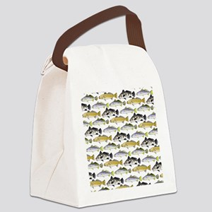 Seatrout and Drum Pattern Canvas Lunch Bag
