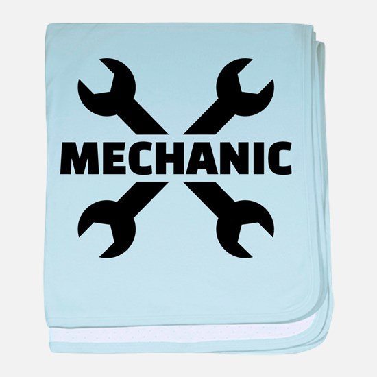 Crossed screw wrench mechanic baby blanket
