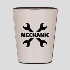Crossed screw wrench mechanic Shot Glass