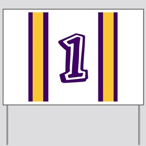 purple and gold number one Yard Sign
