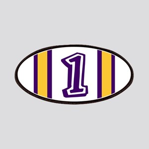 purple and gold number one Patch