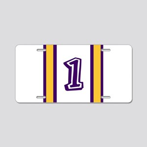 purple and gold number one Aluminum License Plate