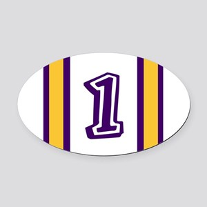 purple and gold number one Oval Car Magnet