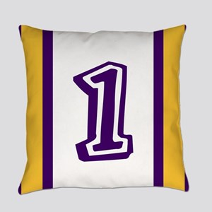 purple and gold number one Everyday Pillow