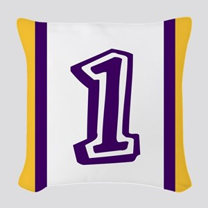 purple and gold number one Woven Throw Pillow