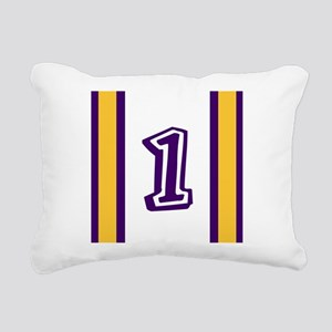 purple and gold number o Rectangular Canvas Pillow