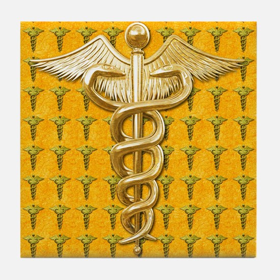 Gold Medical Caduceus Tile Coaster