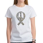 Camo Peace Ribbon Women's T-Shirt
