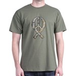 Camo Peace Ribbon Dark T-Shirt