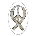 Camo Peace Ribbon Oval Sticker