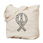 Camo Peace Ribbon Tote Bag