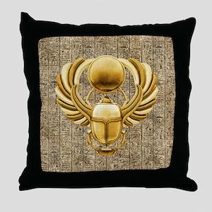 Gold Egyptian Scarab Throw Pillow