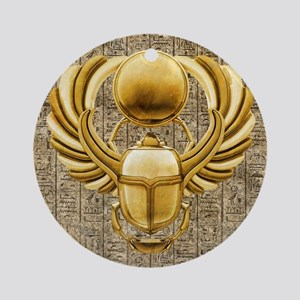 Gold Egyptian Scarab Round Ornament