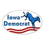 Iowa Democrat Oval Bumper Sticker