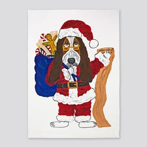Basset Santa Checking List Of Good 5'x7'ar