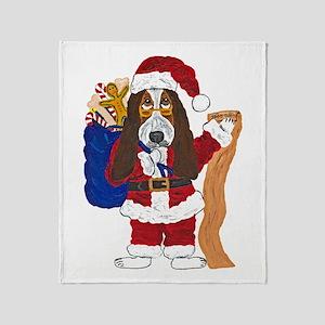 Basset Santa Checking List Of Good Throw Blanket
