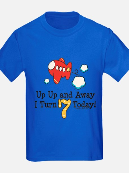 7th Birthday Airplane Kids Blue T-Shirt