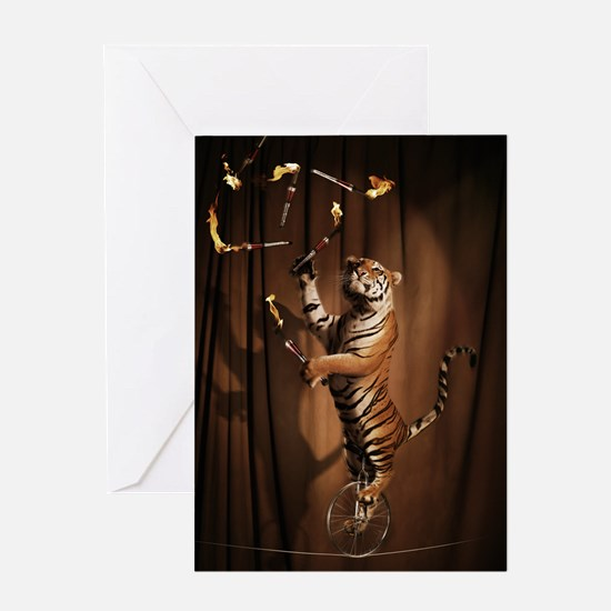 Juggling Tiger Greeting Cards
