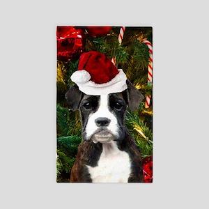 Christmas Boxer Dog Area Rug