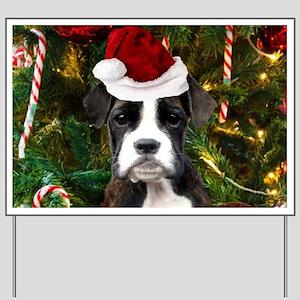 Christmas Boxer Dog Yard Sign