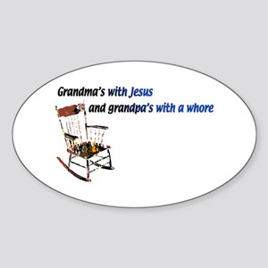 Grandma's with Jesus Oval Sticker