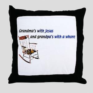 Grandma's with Jesus Throw Pillow