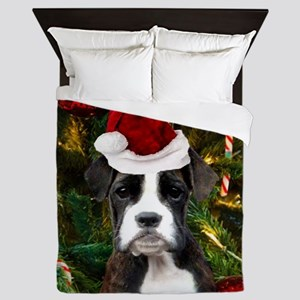 Christmas Boxer Dog Queen Duvet