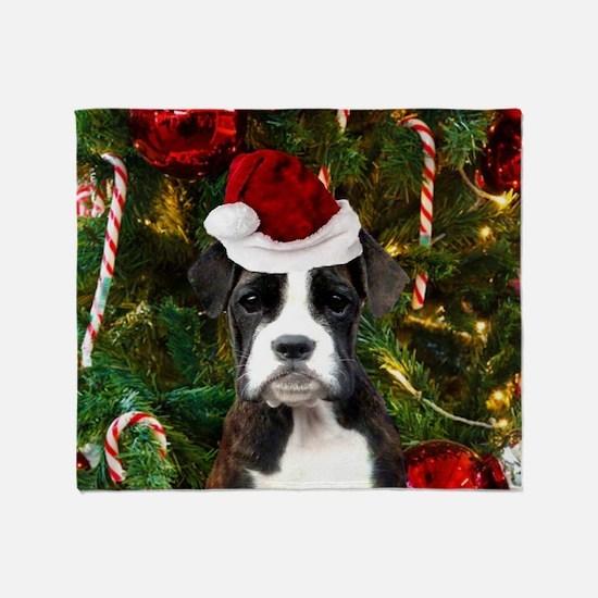 Christmas Boxer Dog Throw Blanket
