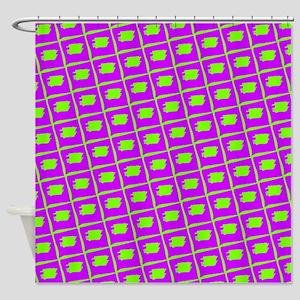Purple Green Freehand Grid Shower Curtain