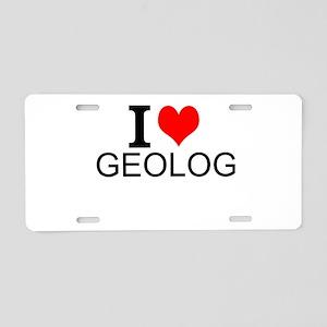 I Love Geology Aluminum License Plate