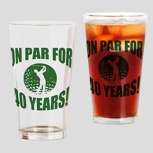 Golfer's 40th Birthday Drinking Glass